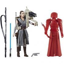 Bonecos Star Wars Rey e Guarda Pretoriano de Elite - 9cm com Acessórios Hasbro 2 Unidades