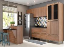 Cozinha Completa Multimóveis Calábria  - com Balcão Nicho para Micro-ondas 13 Portas