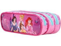 Estojo Escolar Triplo com Zíper Disney Princesa - Dermiwil
