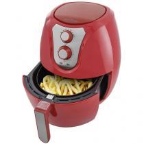 Fritadeira Elétrica Sem Óleo/Air Fryer Britânia - Air Fry Pro Saúde Vermelha 3,2L com Timer