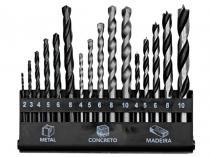 Jogo de Brocas 16 Peças em Aço Rápido - para Metal/Concreto e Madeira - Bel Fix
