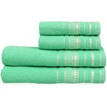 Jogo de Toalha de Banho Atlântica Delicata - Garden Verde Esmeralda 4 Peças