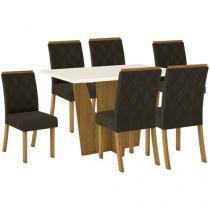 Mesa de Jantar 4 Lugares Retangular Tampo de Vidro - Henn Adriana